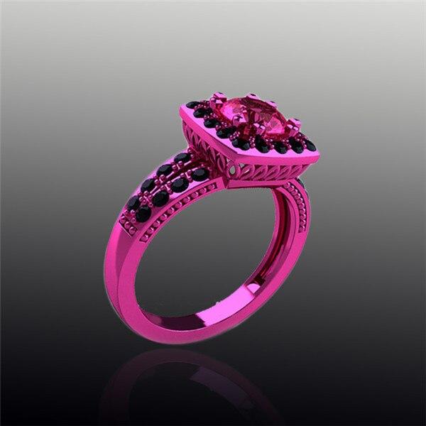 Jewelry Emerald Cut Red Garnet 18K Pink Black Gold Filled Maxi