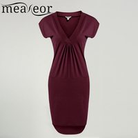 Meaneor Women Dress Summer Autumn V Neck Short Sleeve Solid High Low Hem Casual Retro Pockets
