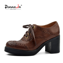 Donna in retro carved genuine leather shoes women lace up deep opening depth shoes platform thick