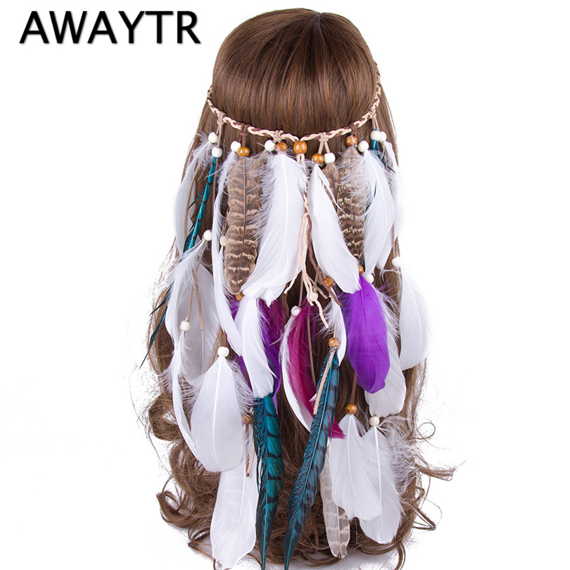 AWAYTR Brand Feather Headpiece Vintage Party Wedding Headband Women Feather Headband Festival Hot Halloween Hair Band women s hats and fascinators vintage sinamay sagittate feather fascinator with headband tocados sombreros bodas free shipping