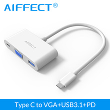 Aiffect USB 3.1 Type C to VGA 3 in 1 Hub USB-C Female Charger Adapter for Macbook 12 Inch Laptop Google New Chromebook Pixel