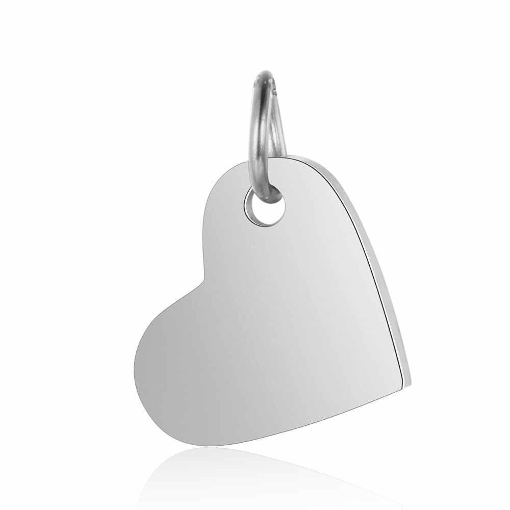 5 unids/lote 100% espejo de acero inoxidable pulido 14mm colgante con etiqueta de corazón para collar de pulsera DIY para hacer joyas