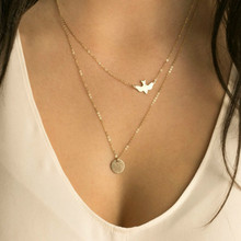 Summer Fashion Gold Chain Statement Necklace Peace Dove Double Layered Chokers Pendant Necklaces Women Collares Jewelry chic rhinestone round pendant embellished black double chokers chain for women