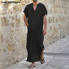 100%Cotton Summer Men Casual Shirts Dress Short Sleeve V Neck Big Pockets Gown 5XL Vacation Beach Shirts Full Length Robe Male