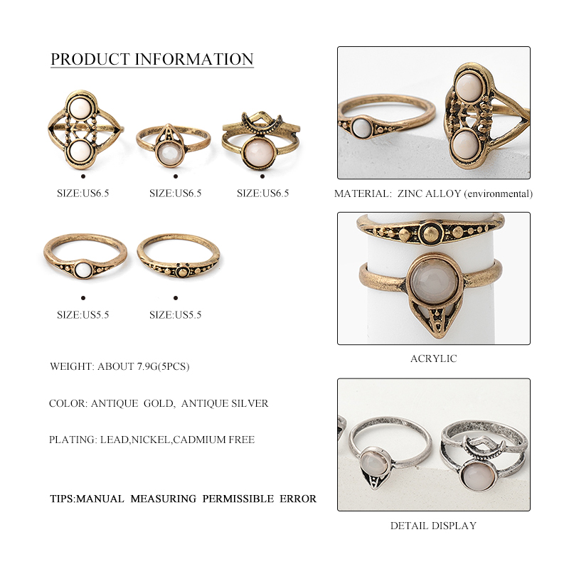 Antique Gold Silver Acrylic Knuckle Ring Sets 1