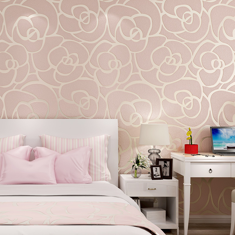 beibehang wallpaper Simple European 3D embossed thick deerskin cashmere rose wallpaper Bedroom TV bedside background wallpaper beibehang modern minimalist deerskin cashmere wallpaper 3d fashion thickened abstract geometric pattern nonwovens 3d wallpaper