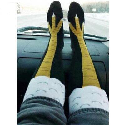 2017 Creative New Women Chicken Socks With Chicken Print Toe Trendy Women Fashion 3D Cartoon Thigh High Sale Chicken Toe Feet