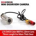 """1/4 """"800TVL 2.8 мм Объектив 79 мм Длина Проводной DOORVIEW CCTV Дверь Отверстия Глаз Цветная Камера Безопасности Для Более толстые Двери"""