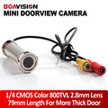 "1/4"" 800TVL 2.8mm Lens 79mm Length Wired CCTV DOORVIEW Door Eye Hole Security Color Camera For More Thick Door"