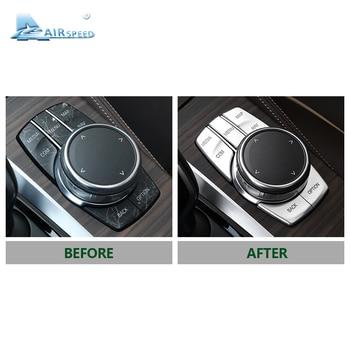 Airspeed لسيارات BMW 5 Series G30 528i 530i 540i ملحقات السيارات أزرار الوسائط المتعددة غطاء شارات ABS الديكور الداخلي تصفيف السيارة