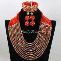 Beautiful Nigerian Wedding Beads Necklace Bracelet Earrings Set 10 Rows Costume African Crystal Beads Jewelry Set ALJ277