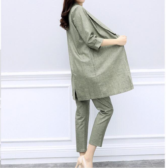 2019 New Spring Autumn Women 2 Pieces Sets Suits Cotton Linen Blazers Coat Casual Ladies Pants Sets
