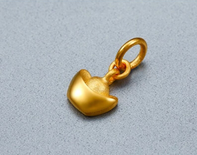 Pure 24K Solid 999 Yellow Gold Pendant Yuan Bao Pendant / 1.2g все цены