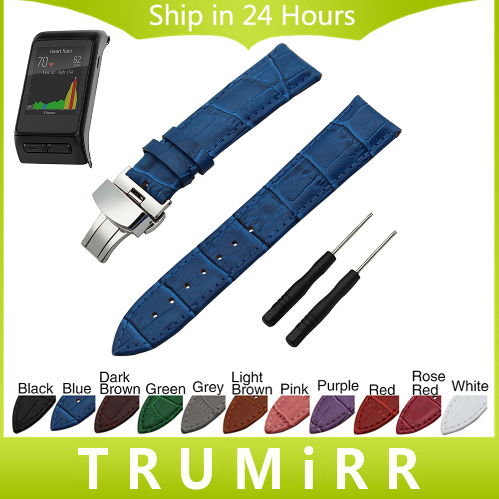 20 22 24mm Genuine Leather Watch Band Butterfly Buckle Strap for Garmin Vivoactive HR Fenix 5S 5 Epix Croco Grain Wrist Bracelet canvas nylon watchband tool for garmin fenix 5 forerunner 935 fr935 leather watch band sports strap steel buckle bracelet