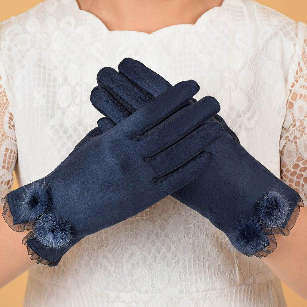 Women Mink Ball Wool Gloves Fashion Opening Design Winter Ladies Gloves New Trendy Elegant Soft Black Mittens Gloves