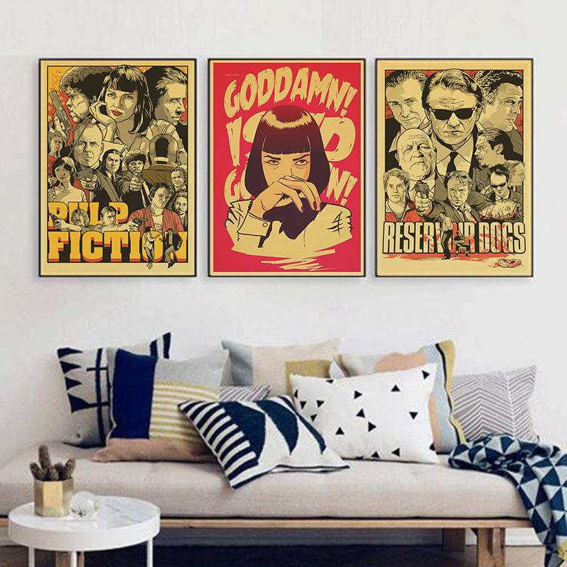 Quentin Tarantino Direct Uma Thurman Movie Pulp Fiction Vintage Paper Poster Wall Painting Home Decoration 42X30 CM 30X21 CM