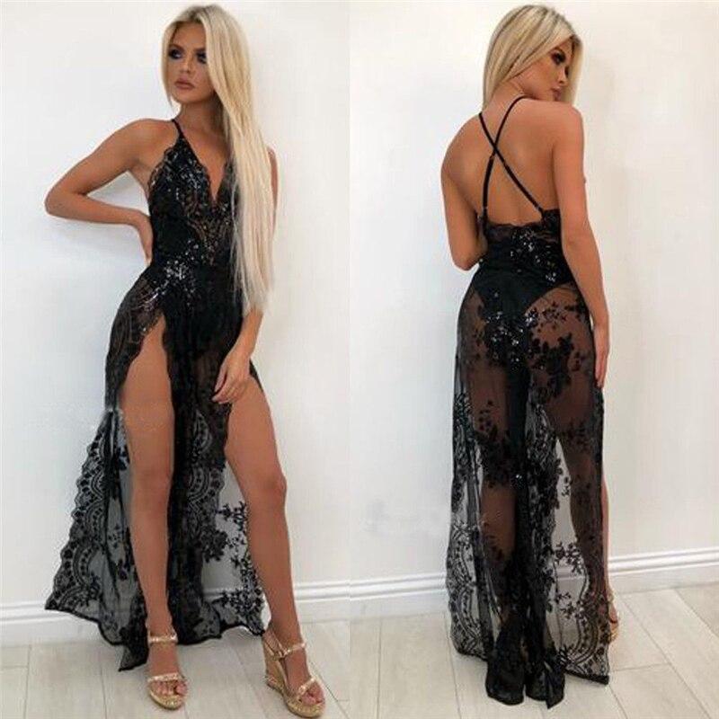 Женская сексуальность кружева Sheer длинное платье без рукавов, с глубоким v-образным вырезом пикантные летние Вечеринка платье для женщин