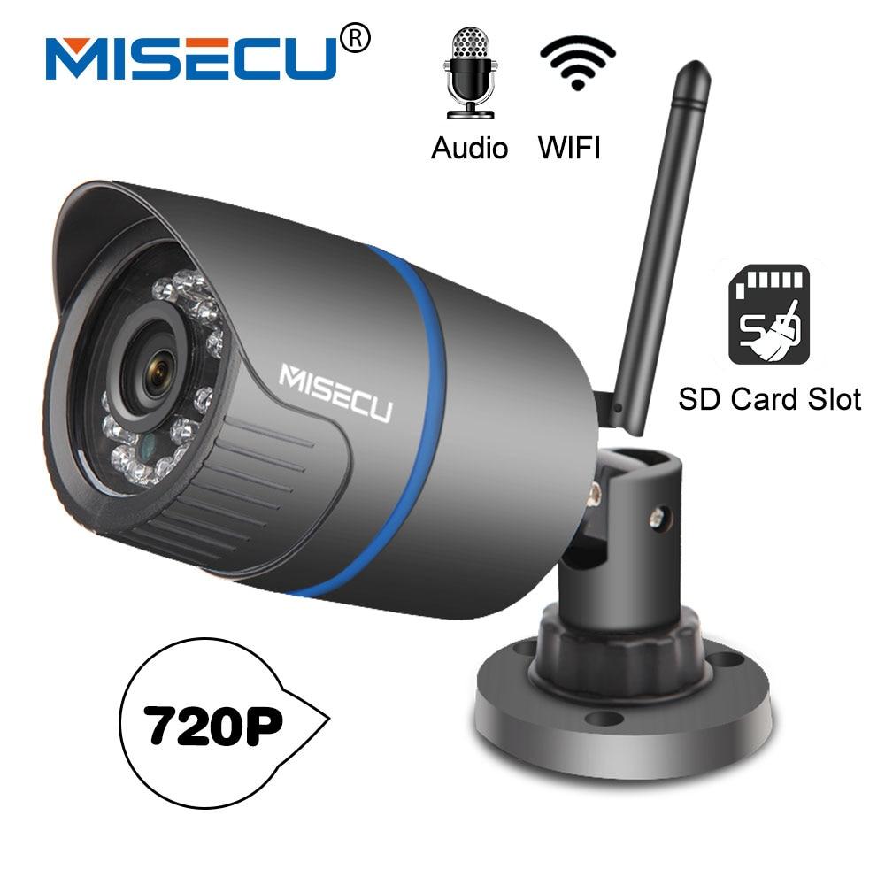 MISECU H.264 + Wifi + cámara de Audio construido tarjeta SD 2,8mm Wifi 1280*720 P P2P ONVIF inalámbrica de correo electrónico alerta noche IR visión de circuito cerrado de televisión al aire libre
