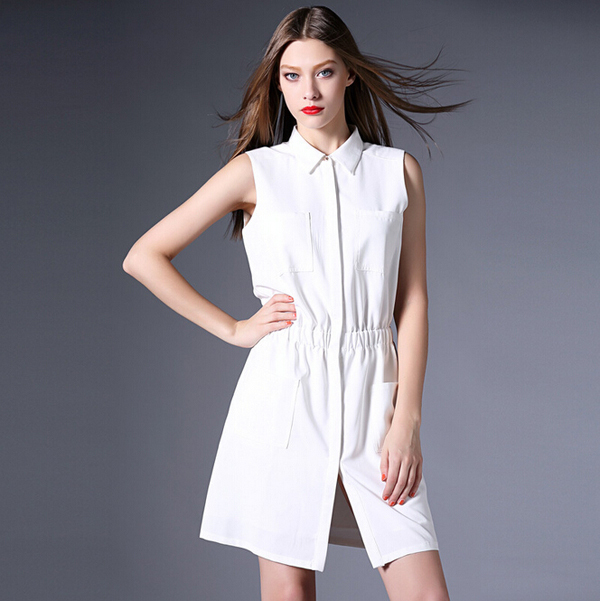 New Arrival Sleeveless White Shirt Dress Women Turn down Collar ...