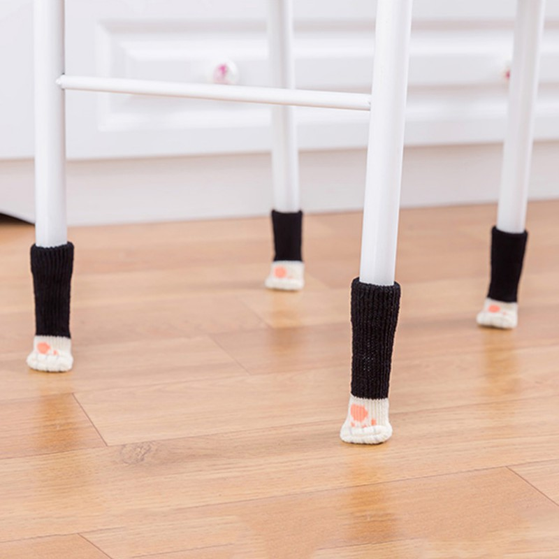 4pcs Knitting Cat Style Chair Leg Socks Home Furniture Leg Floor Protectors Non-slip Table Legs cover prevent cat scratching 7