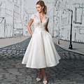 Generous Short Wedding Dress 2017 V neck Short Sleeve Ivory Bridal Gowns robe de mariage Cheap Tea Length vestido de noiva curto