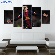 цена на 5 piece Fc Barcelona Messi canvas printed painting for living picture wall art HD print decor modern artworks football poster