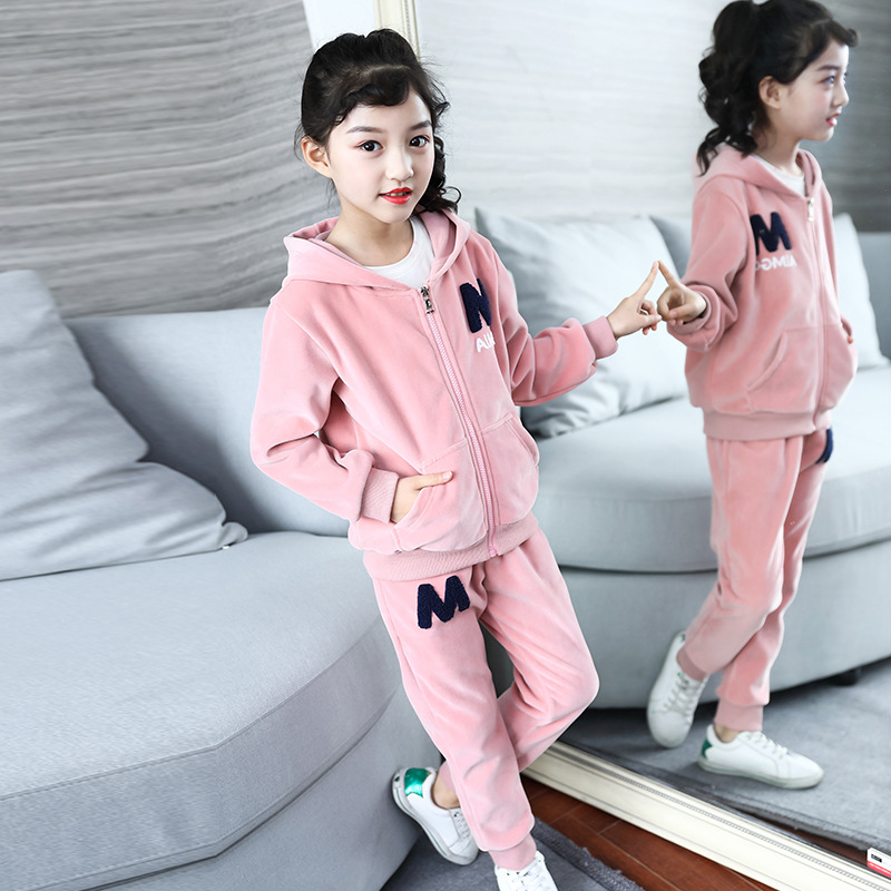 2018 Summer New Girl 's Suit Gold velvet Korean version Fashionable Letter Embroidered hooded zipper Popular Comfortable fashionable women s letter striped print tank top