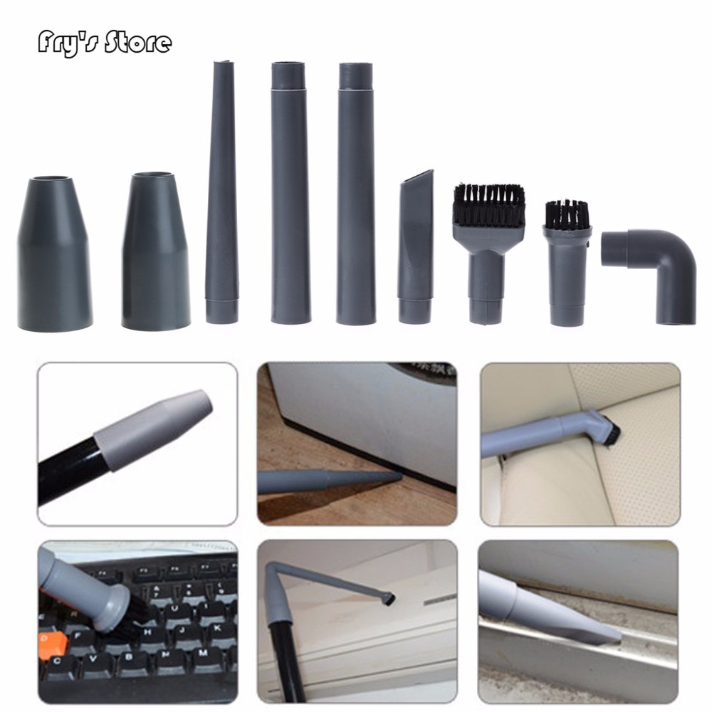 Fry's Store 9Pcs/Set Universal Vacuum Cleaner Accessories Multifunctional Corner Brush Set Plastic Nozzle