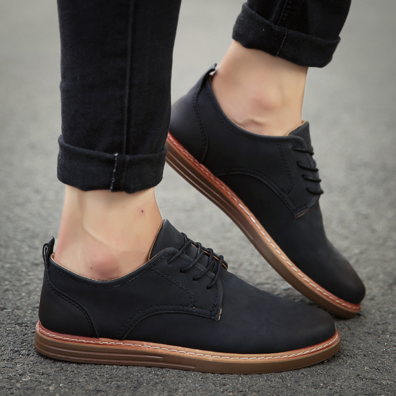 fashion leather casual shoes men comfortable leisure moccasins cheap dress male footwear work elegant boy oxford shoes for m (42)