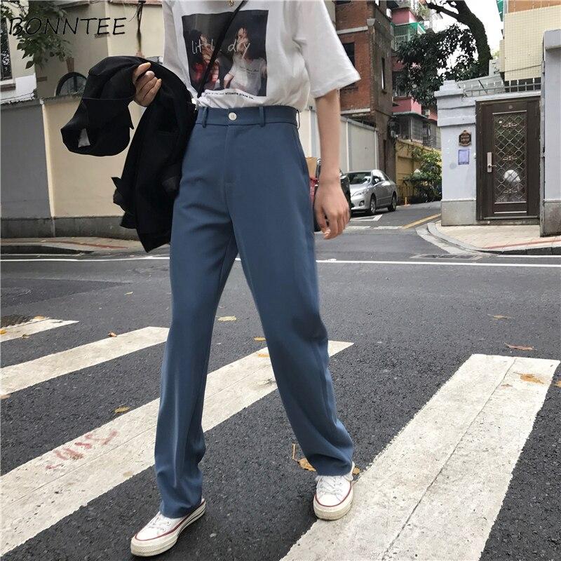 Pants   Women Retro High Waost Solid Color Leisure   Pant   Spring Womens Korean   Capris   Elegant All-match Trouser Ladies Button Pocket