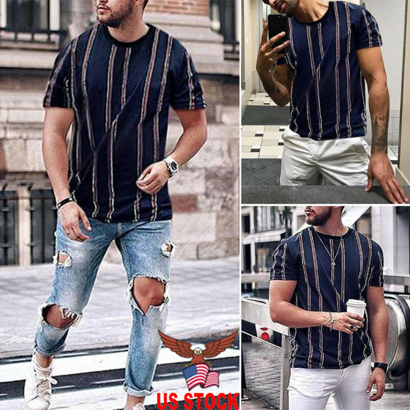 Men's Holiday Fashion Summer Striped Crew Neck Short Sleeve Striped T-Shirt Tee