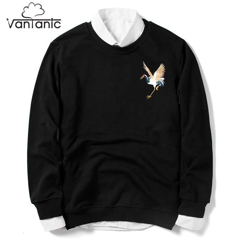 Vantanic 2018 Spring New Men Hoodie O-Neck Casual Fashion Embroidery High Street Hip Hop Hoodies Men Hoodie Sweatshirt WXS9054