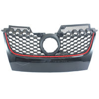 Front Main Upper Hex Mesh Bumper Center Grill Grilles Black W Red Trim For VW JETTA