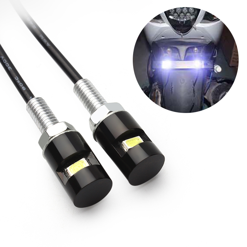 LEEPEE 2Pcs Car Motorcycle Number License Plate Lights 12V LED 5630 SMD Auto Tail Front Screw Bolt Bulbs Lamps  Light Source