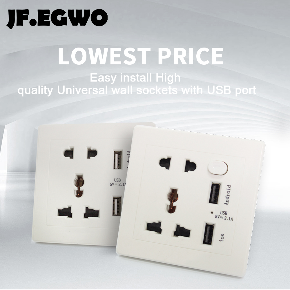 JF.EGWO USB Wall Socket 2 USB outlets with Switch Universal Power ...