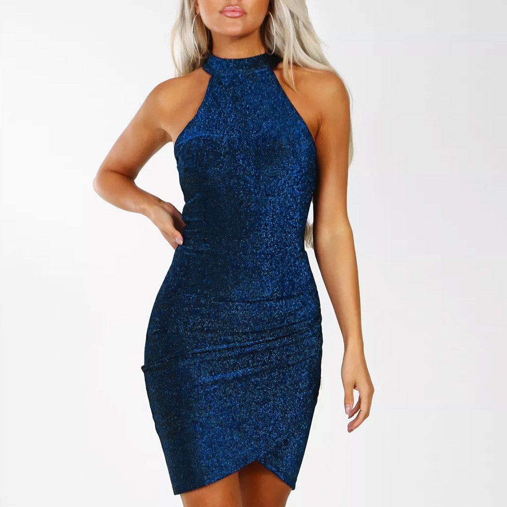 Women Sparkly Off Shouder Off Shouder Bodycon Mini Dress Evening Party Dress Casual Sleeveless Club Party Dresses Vestidos
