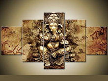 HD print 5 pcs Ganesha Red Maple Tree canvs Painting wall Art Pictures home decor wall art picture for living room decor PT1164(China)