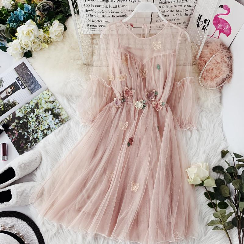 2019 Spring New Women Round Collar Lantern Sleeve Gauze A-line Dress Female O-neck Flower Appliques Elegant Mesh Dresses
