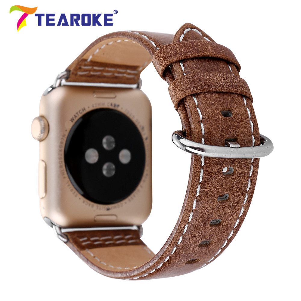 TEAROKE Genuine Leather Watchband for Apple Watch 1 2 3 38mm 42mm Dark Brown Ring Buckle Men Replacement Band Strap for iwatch 6 colors luxury genuine leather watchband for apple watch sport iwatch 38mm 42mm watch wrist strap bracelect replacement