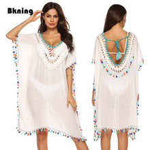 Bkning Tassel Tunic Beach Coverups for Women White Dress 2019 Summer Bikini Swimsuit Cover Up Dresses Fringe Beachwear