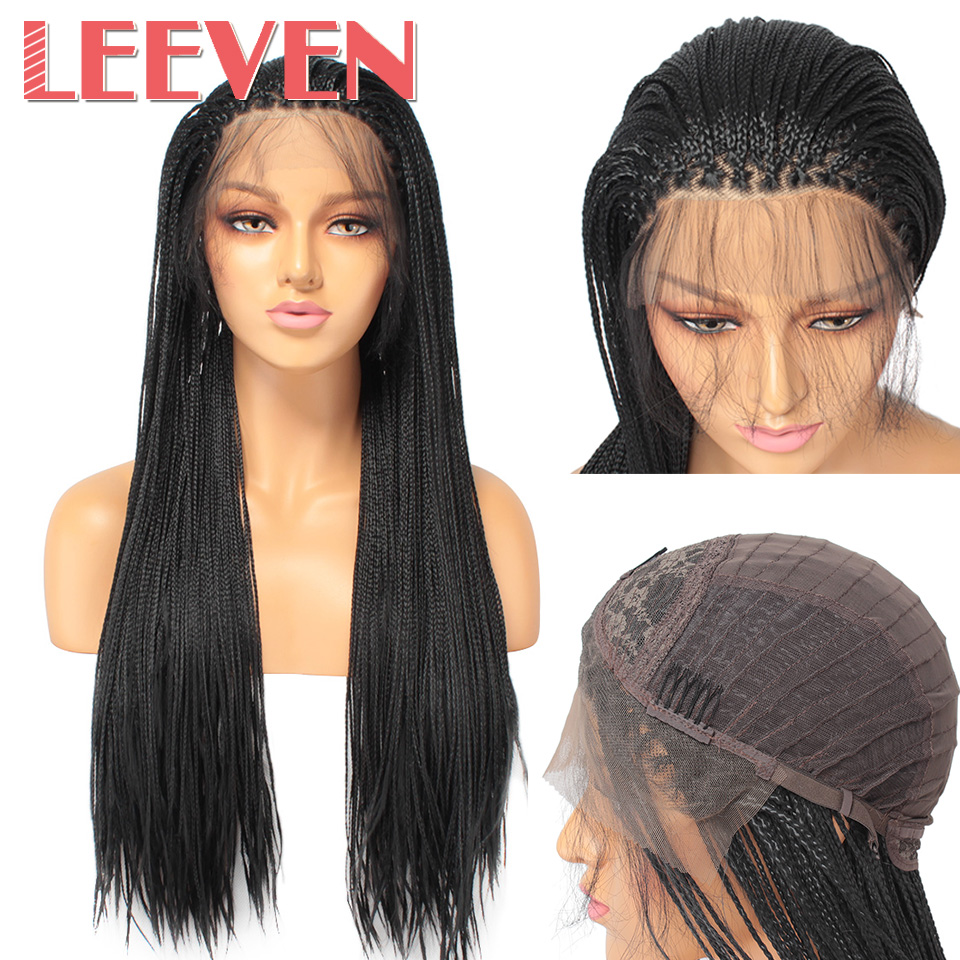 Leeven Braids Wig Hair Lace-Front Black-Color Synthetic Women Heat-Resistant-Fiber Box