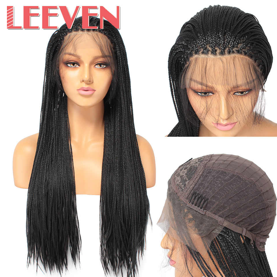 Leeven 26inch Synthetic Braided Box Braids Wig Lace Front Wigs For Women Black Color Heat Resistant Fiber Baby Hair Braid Wig