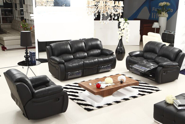Modern Recliner Leather Sofa Set With Genuine Manual