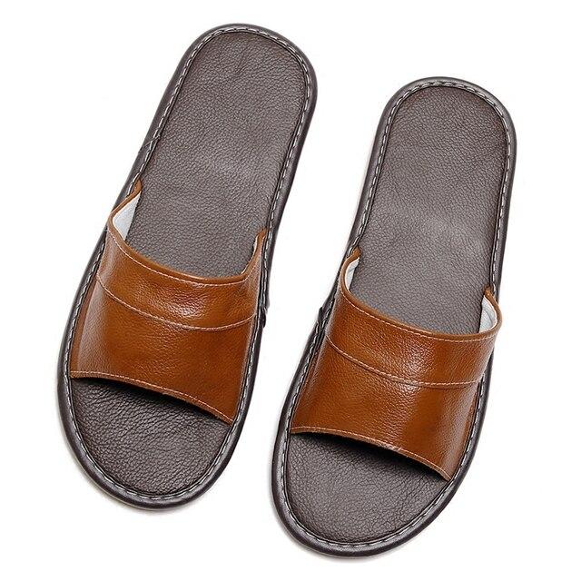 Paar der Sommer Home Hausschuhe Anti-Rutsch Genuine Leder frauen Hausschuhe Männer Casual Komfortable Hause Schuhe