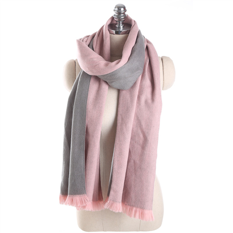 Autumn and Winter Double Sided Two Color Solid Color Cashmere Tassel Scarf for Women Fashion Thick Warm Shawl Scarves