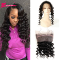 Grade 7A 360 Lace Frontal Closure with Adjustable Straps Brazilian Virgin Hair Loose Wave Lace Frontal Closure With Baby Hair