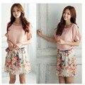 Новая Мода Высокого Качества Женщин Цветочный Шифон Bat Рукава Повседневная Dress Черный Фиолетовый Розовый и Белый