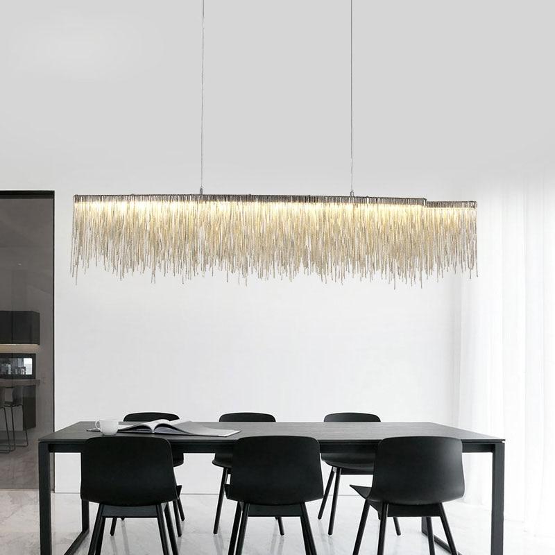 Modern Italy Design Iron Chain Bar Led Chandelier Lighting Silver Tassel Chandelier Luxury Light For Dinning Table Decoration