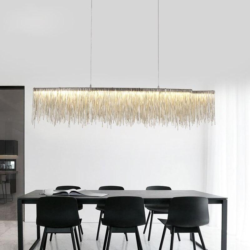 Moderne italie Design fer chaîne bar led lustre éclairage argent gland lustre luxe lumière pour salle à manger table décoration