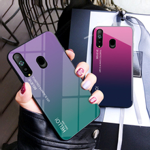 For Samsung Galaxy A8S Case Tempered Glass for Gradient Color Back Cover Soft Bumper